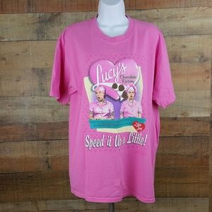 I Love Lucy T-Shirt Women's Size L Pink Short Slee
